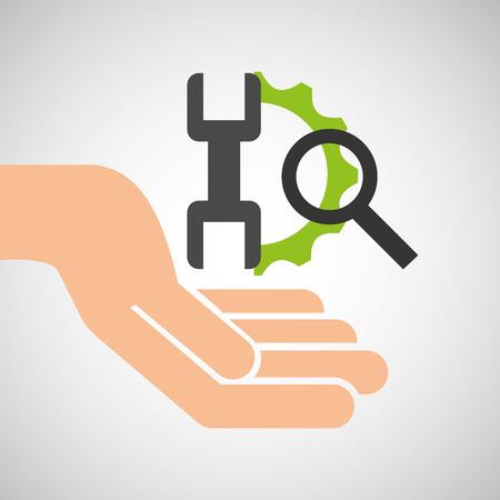 technology tool: hand optimization technology tool gear icon vector illustration Illustration