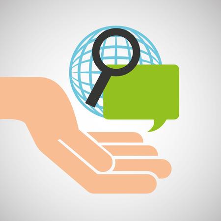 hand optimization technology globe speech vector illustration