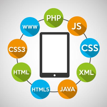 programming code: programming languages smartphone source code vector illustration