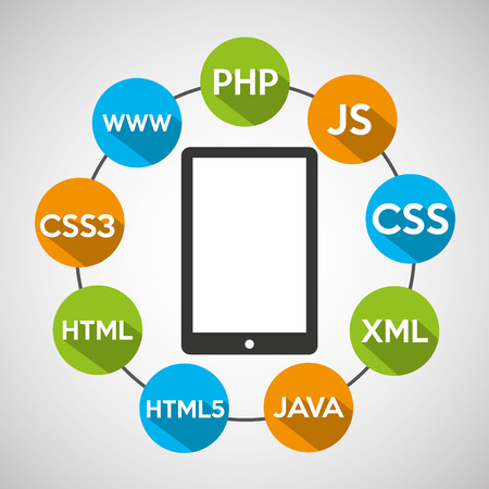 programming languages smartphone source code vector illustration