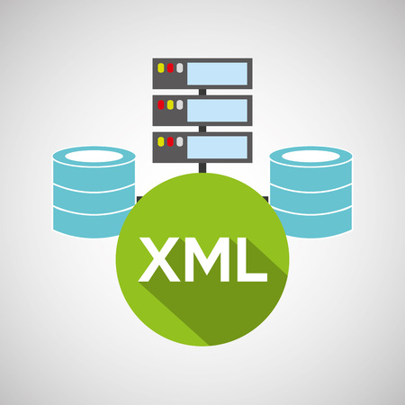 xml: xml language data base storage vector illustration