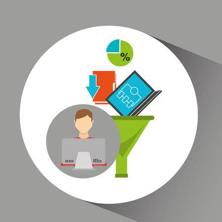 intelligent man working laptop data analytics vector illustration