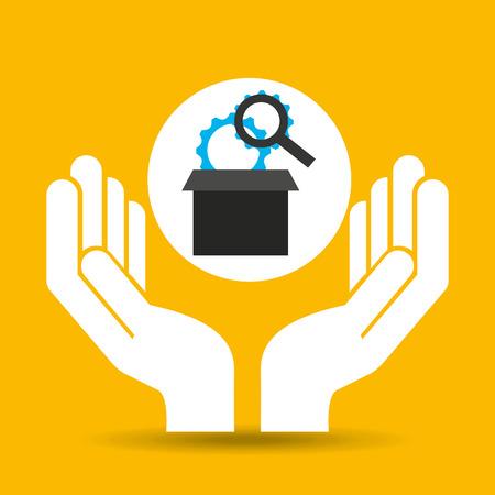 hand optimization technology engine vector illustration