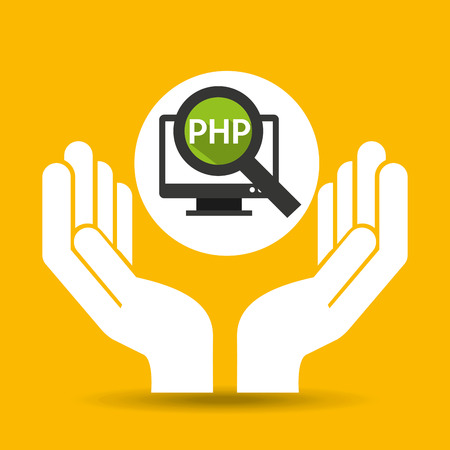 hand optimization technology php computer vector illustration
