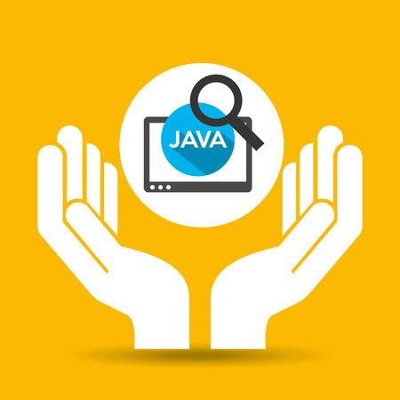 hand optimization technology java web vector illustration