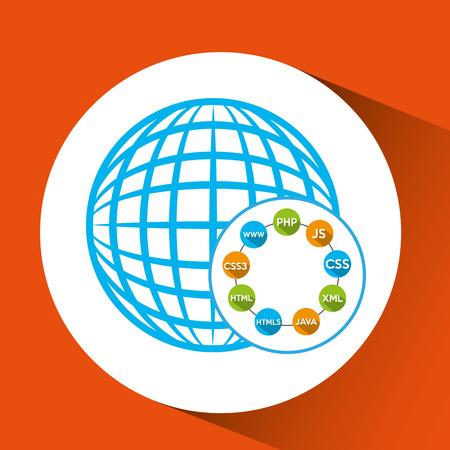 programmeertalen wereldwijde verbinding vector illustratie eps 10