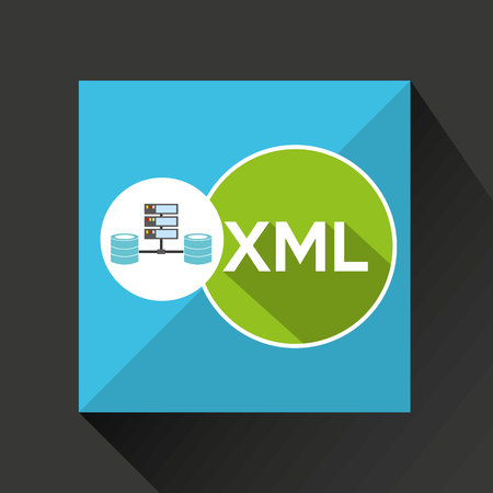 relational: xml language data base storage vector illustration