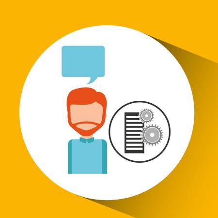 webmaster: database setting character bubble speech vector illustration