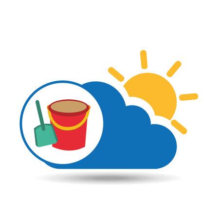 summer vacation design shovel bucket toy vector illustration