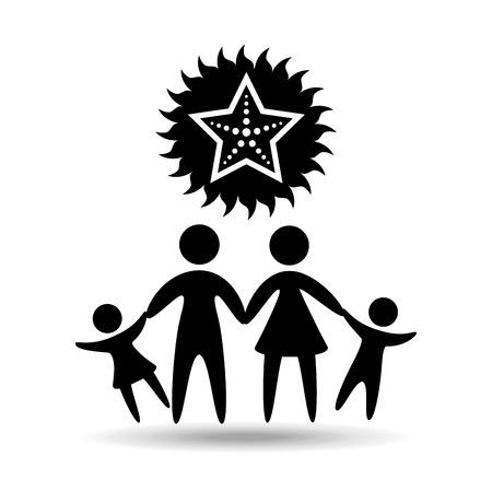 silhouette family vacation starfish sea marine vector illustration