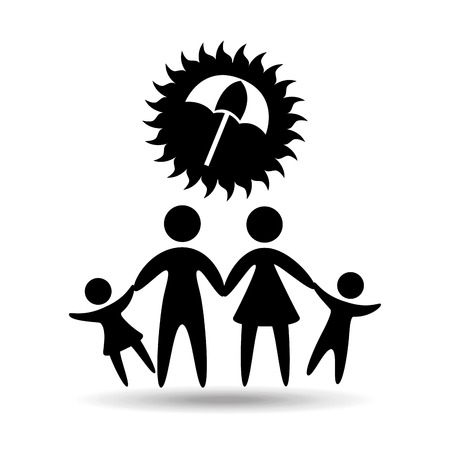 silhouette family vacation umbrella protection vector illustration