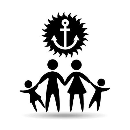 famille silhouette ancre vecteur vacances de marin illustration