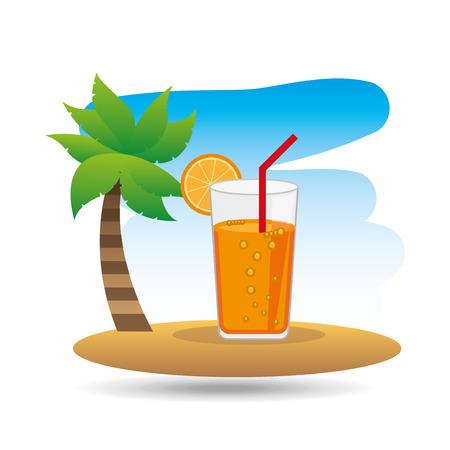 tropical vacation beach cocktail bar vector illustration