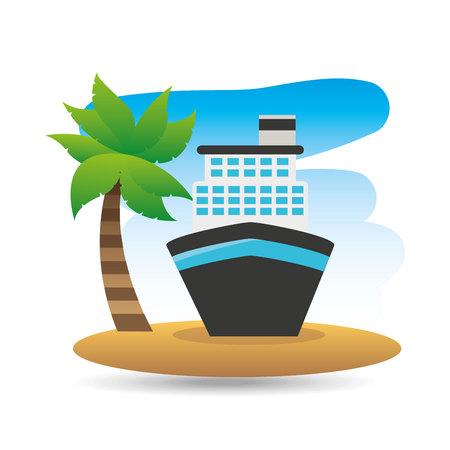 caribbean cruise: tropical vacation beach boat cruise travel vector illustration