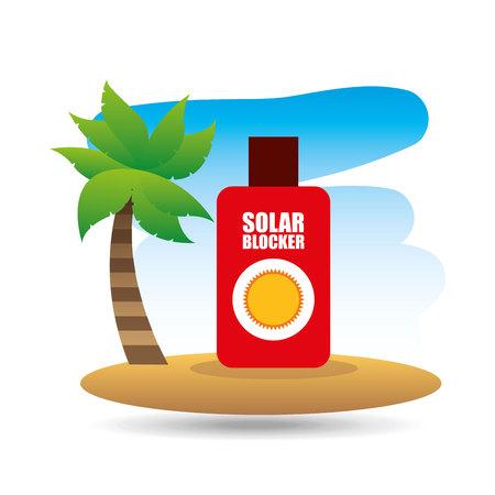 tropical vacation beach solar blocker icon vector illustration Illustration