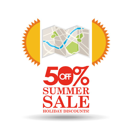 summer sale 50 discounts with map location vector illustration Illustration