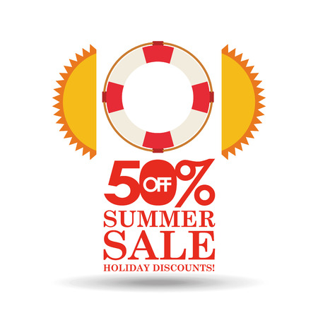 summer sale 50 discounts with life buoy vector illustration