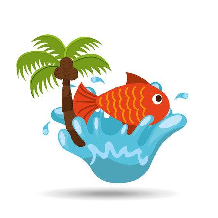 caribbean cruise: fish water splash palm summer vacation vector illustration