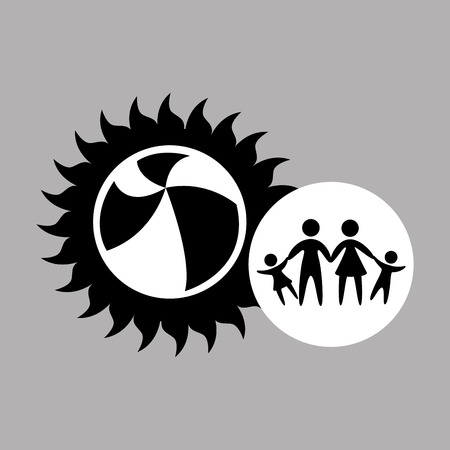 inflatable ball: silhouette family vacation ball beach game vector illustration Illustration