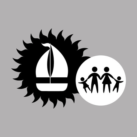 silhouette family vacation sail a boat vector