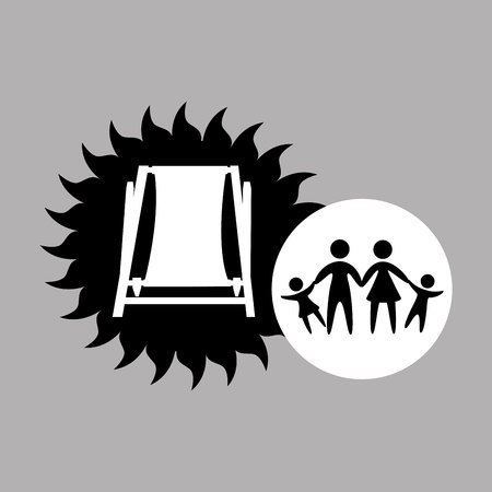 grand strand: silhouette family vacation chair break beach vector Illustration