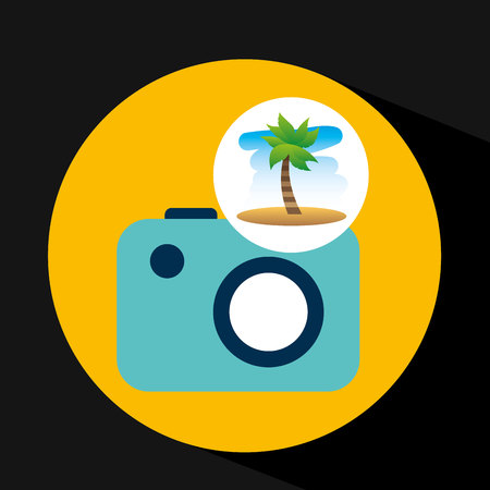 tropical vacation beach picture camera vector illustration Illustration