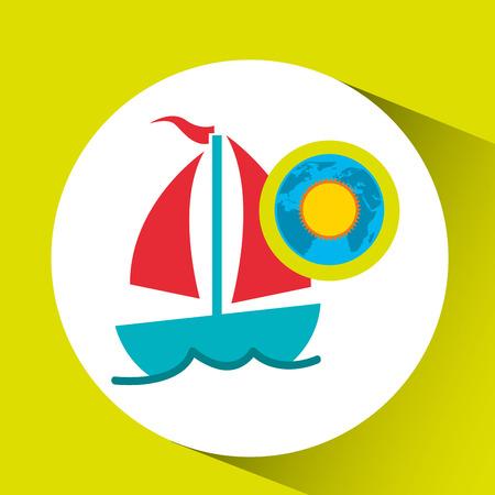 having fun: vacation around world sunny sailboat vector Illustration