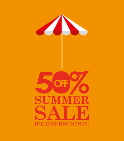 rainbow umbrella: summer sale 50 discounts with umbrella vector illustration