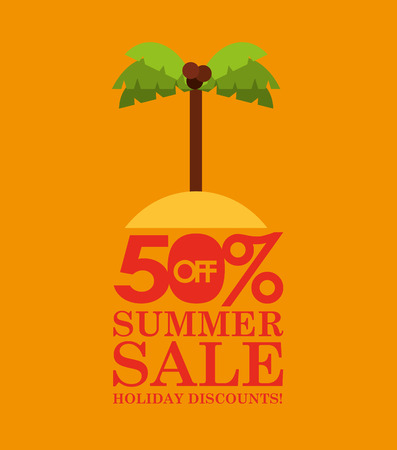 summer sale 50 discounts with palm island vector illustration Illustration