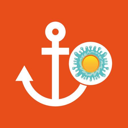 waterway: nautical anchor summer vacation sun splashes label vector illustration Illustration