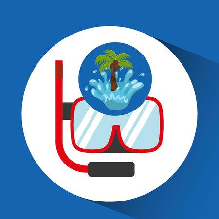 snorkeling water splash palm summer vacation vector illustration