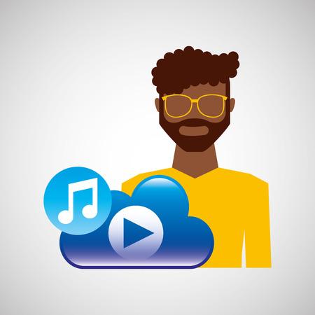 rock guitarist: cartoon man glasses cloud music play vector illustration eps 10