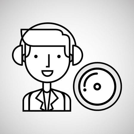 man hand drawing listening music cd vector illustration eps 10