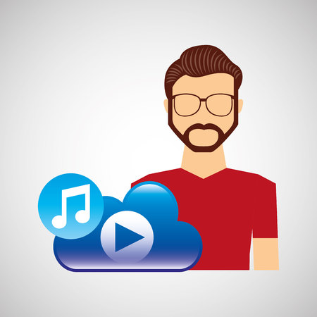 cartoon man hipster cloud music play vector illustration eps 10 Illustration