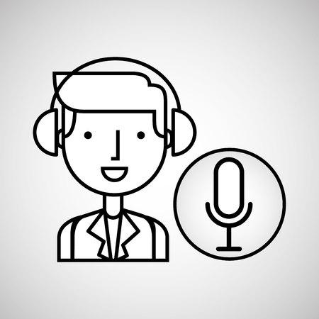 virtuoso: man hand drawing listening music microphone vector illustration eps 10 Illustration