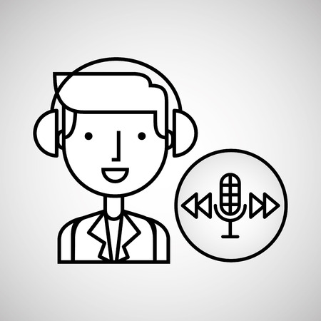 listening to music: man hand drawing listening music microphone forward vector illustration eps 10