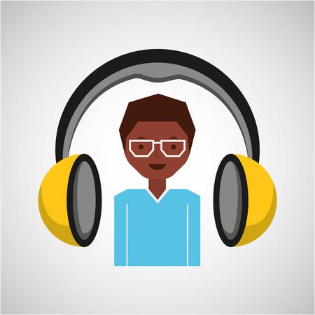 headphones music cartoon guy glasses vector illustration eps 10
