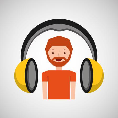 headphones music cartoon guy beard vector illustration eps 10