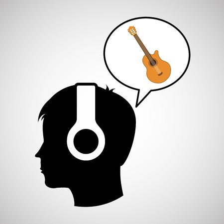 head silhouette listening music guitar vector illustration eps 10 Illustration