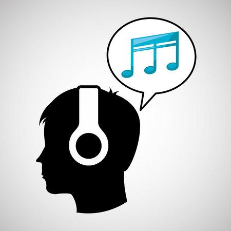 quaver: head silhouette listening music quaver vector illustration eps 10 Illustration