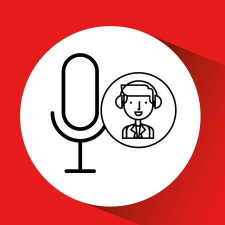 man hand drawing listening music microphone vector illustration eps 10 Illustration
