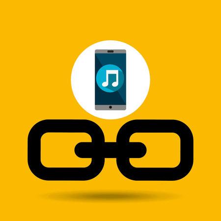 smartphone music online link vector illustration eps 10