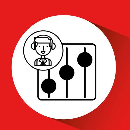 crotchet: man hand drawing listening music equalizer vector illustration eps 10 Illustration