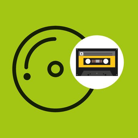 cd compact music cassette tape vector illustration eps 10