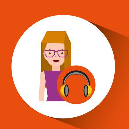 girl glasses: headphones music character girl glasses vector illustration eps 10