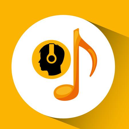 head silhouette listening music note vector illustration eps 10 Illustration