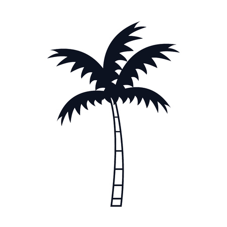 tree palm silhouette icon vector illustration design