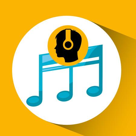 quavers: head silhouette listening music quaver vector illustration eps 10 Illustration