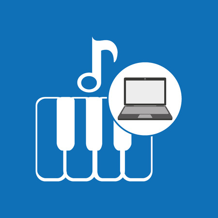 laptop music technologykeyboard piano vector illustration eps 10 Illustration