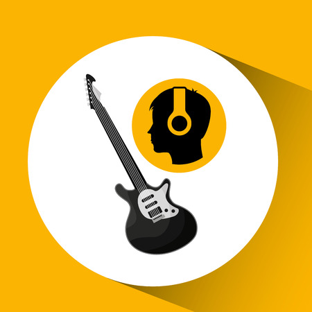 head silhouette listening music guitar electric vector illustration eps 10